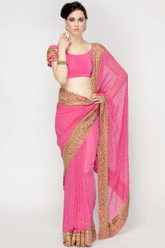 Onionpink Zari Work Saree by Red COuture