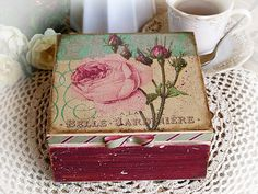"""Jewelry , tea , candy box """" The charming rose """" / Handmade unique Decoupage technique box vintage looking. Shabby chic . Rustic style."""