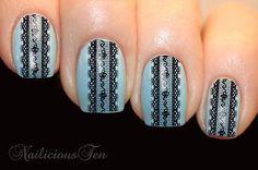 Black Lace Stripes Nail Water Transfer Wraps