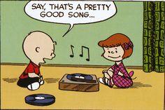 Charle Brown listening to a record. Peanuts by Charles Shultz http://www.gocomics.com/peanuts#.U799-U1OXhc