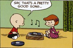 Charlie Brown & Patty listening to records