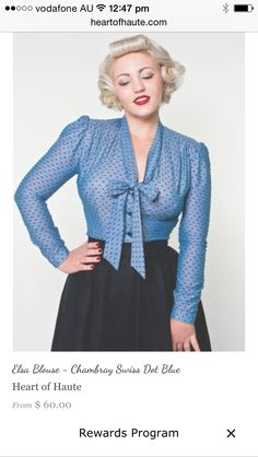 a519539e291 Plunge neck blue chiffon dotted swiss blouse Vintage 1950s Dresses