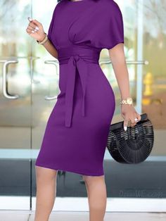 Bandage Solid Color Short Sleeve Dress WHATWEARS is part of pencil-drawings - pencil-drawings Trendy Dresses, Elegant Dresses, Dresses For Work, Maxi Dresses, Party Dresses, Mode Chic, Mode Style, African Fashion Dresses, Fashion Outfits