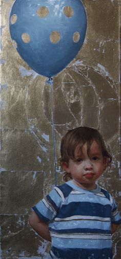 'Apprehension' by Casey Childs ~ oil, gold leaf on canvas, 32x15 in., 2010. http://caseychilds.com