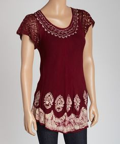 Another great find on #zulily! Maroon Batik Cap-Sleeve Top #zulilyfinds