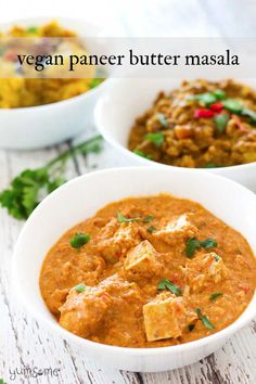 At only 356 calories a serving, my #vegan #paneer #butter #masala is a perfect balance of spicy creaminess, and is #diet-friendly too! | yumsome.com Vegan Recipes Videos, Tofu Recipes, Vegan Dinner Recipes, Delicious Vegan Recipes, Curry Recipes, Indian Food Recipes, Asian Recipes, Vegetarian Recipes, Cooking Recipes