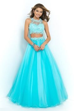 Jewel Sleeveless Beading Floor-length Tulle Ball Gown Dresses - Two Piece Prom Dresses - Prom Dresses Blush Prom Dress, Cute Prom Dresses, Homecoming Dresses, Pretty Dresses, Beautiful Dresses, Long Dresses, Dress Long, Dress Prom, Dresses Dresses