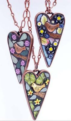 Jewelry Making Hand Cut Mosaic Jewelry by Angela Ibbs Designs - The Beading Gem's Journal Resin Jewelry, Glass Jewelry, Pendant Jewelry, Jewelry Crafts, Handmade Jewelry, Heart Jewelry, Earrings Handmade, Jewelry Ideas, Mosaic Glass