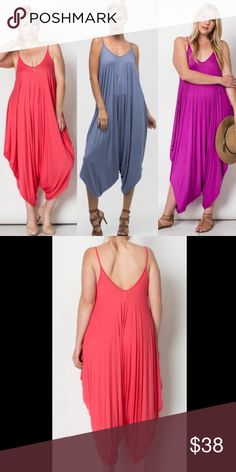 PLUS SIZE Harem Jumpsuit Price is for one jumpsuit in one color. Soft, lightweight fabric consists of 95% rayon, 5% spandex. Made in U.S.A.. Brand new retail w/o tags. No trades, no holding, no off App transactions.  SHIPS FRIDAY     PRICE IS FIRM UNLESS BUNDLED                  5% off bundles  Pants Jumpsuits & Rompers