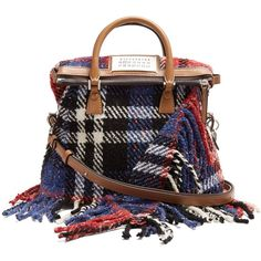 Maison Margiela 5AC mini tweed cross-body bag (39.012.000 VND) ❤ liked on Polyvore featuring bags, handbags, shoulder bags, red multi, crossbody purse, mini handbags, mini crossbody, zip purse and fringe crossbody