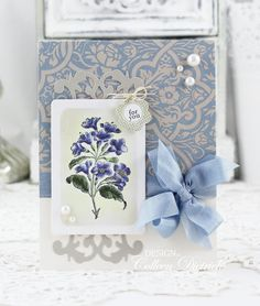 Freesias for you | Colleen Dietrich Designs  - handmade stamped greeting card using Spray Flower stamp from La Blanche (not sure if they are actually freesias!), Fancy Tag die from Spellbinders, a Colleen Bow using Hug Snug seam binding, paper by Stampin' Up!, pearls, and Tiny Tag / Papertrey Ink sentiment.