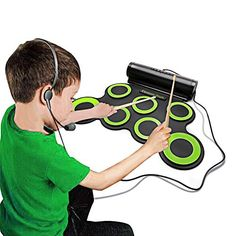 Electronic Drum Set Portable Electronic Drum Pad - Built-In Speaker (DC Powered) - Digital Roll-Up Touch 7 Labeled Pads and 2 Foot Pedals Midi Drum Up to Playing Time Holiday for Kids Children Beginners Electronic Drum Pad, Digital Drums, How To Play Drums, Built In Speakers, Drum Kits, Christmas Gifts For Kids, Audio Equipment, Kids Playing, How Are You Feeling