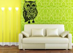Oh Lovely Owl - unique drawing sketch  - Vinyl wall art decals graphic by 3rdaveshore. $42.00, via Etsy.