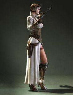 Steampunk Princess Leia ~ by Jeff Miller concept by Bjorn Hurri