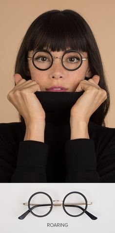 Cozy up to cooler weather with a face-framing turtleneck and glasses with a bold vintage shape. Our Roaring frames ($52) combine classic black acetate with a delicate metallic finish to add a geek-chic edge to any outfit. Find these and over 1000 other eyewear styles at EyeBuyDirect.com. Feel free to fall in love with more than one—glasses start at just $6 INCLUDING a prescription! Digital try-ons and a 14 Day Fit & Style Guarantee ensure your perfect fit.