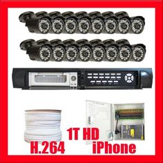 """Complete Professional 16 Channel H.264 DVR with 16 x 1/4"""" Sony CCD Camera, 540TV Line CCTV Surveillance Video Camera System Package . $1260.00. Package includes: G-9016V - 16 channel network DVR with 1T HDD CD with manual and software 16 x G-648 - 1/4"""" Sony CCD Camera 1 x G-1000RG59: 1000 Feet RG59 Siamese Power/Video Combo Cable G-1218-10A: 1 x 18 ports power box 16 x Power pigtail (G-082) 32 x G-10009: Twist On BNC Male Connector"""