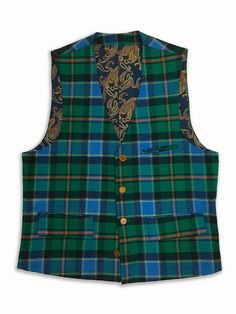 Paisley Liner Check Wool Vest
