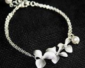 Silver Orchid Flower Bracelet  with Pearl - gold available, Sterling Silver chain available