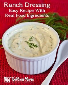 Easy healthy ranch dressing recipe with all real food ingredients like yogurt, herbs, spices, olive oil, garlic and parmesan cheese. Healthy Ranch Dressing, Ranch Dressing Recipe, Salad Dressing Recipes, Salad Dressings, Avacado Dressing, Ranch Recipe, Homemade Dressing, Clean Eating Recipes, Cooking Recipes