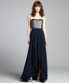 Nicole Miller - navy chiffon sequin embellished high-low strapless gown @Bluefly