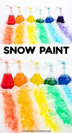 DIY SNOW PAINT - make your own snow paint this winter! Such a fun and easy winter activity for kids. Art Activities For Toddlers, Snow Activities, Outdoor Activities For Kids, Infant Activities, Painting Activities, Winter Crafts For Kids, Winter Fun, Winter Theme, Diy For Kids