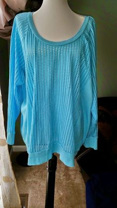 Womans plus size 18 / 20 Pullover top Active long sleeve Comfy Blouse BLUE  #ACTIVE #Blouse #Casual
