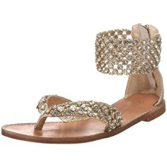 ZiGiny Women's Instinct Sandal ($101) ❤ liked on Polyvore featuring shoes, sandals, flats, sapatos, scarpe, leather sandals, leather flat shoes, leather shoes, leather strappy sandals and jeweled sandals