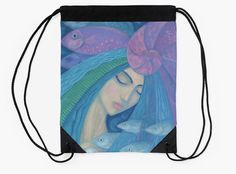 """""""The Pearl, Mermaid Princess, underwater fantasy art"""" Drawstring Bags by clipsocallipso 