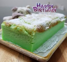 My darling husband loves to eat nonya kueh and custard. So for his birthday, I've decided to bake him a cake that marries these 2 . Magic Custard Cake, Malaysian Dessert, Pandan Cake, Different Cakes, Fresh Cream, Chinese Food, Pudding, Treats, Baking
