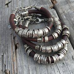 Leather Bracelet Sterling Silver Handmade Bracelet от joykruse