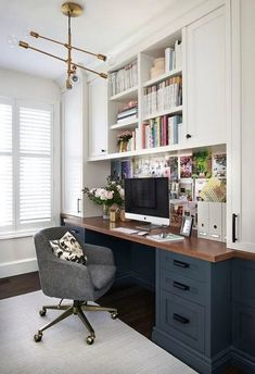 Looking some home office remodel ideas? Creating a comfy home office is a must. We can help you. Check out our home office ideas here and get inspired Home Office Space, Home Office Design, Home Office Decor, House Design, Home Decor, Office Designs, Closet Office, Design Design, Small Home Offices