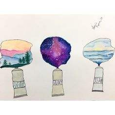 I give my dreams life with just a pinch of color ✨ by: asmunikal Galaxy Painting, Galaxy Art, Pen Art, Art Plastique, Art Sketchbook, Insta Art, Cute Art, Art Inspo, Watercolor Paintings