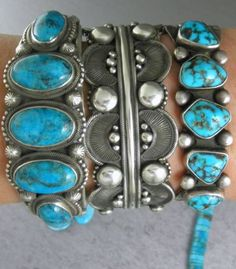 90g-Heavy-Wide-Blue-Navajo-Morenci? Turquoise-Row-Cuff-Bracelet $525.00 The One on the far right will b mine soon.