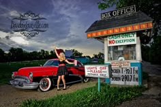 Pinup girl photo shoot at the old drive in movie theater. To see... | Chromjuwelen.com