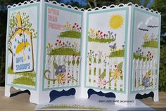 April Showers Bring May Flowers screen divider card. Used Sheltering Tree stamp set from Stampin' Up!  Handmade by Quinn