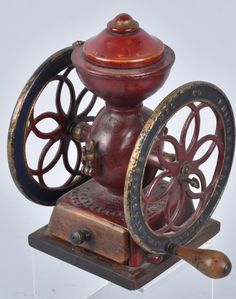 Measures about 11 high with 7 diameter wheels. on May 2016 Antique Coffee Grinder, Coffee Grinders, Vintage Appliances, Industrial, Antiques, Quotes, Antiquities, Quotations, Antique