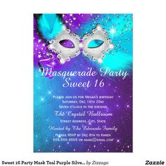 Sweet 16 Party Mask Teal Purple Silver Masquerade 5x7 Paper Invitation Card