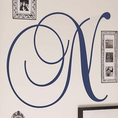 Give her a room makeover on a budget. A fresh coat of paint and a monogram make the space truly her own. Cursive Letter Monogram Decal #pbteen