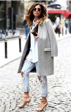 Grey coat, distressed denim, boyfriend button down, and heels