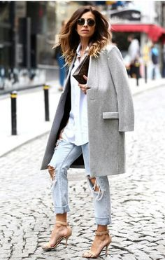 Grey coat, distressed denim, boyfriend button down, and heels