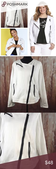 """White ponte moto jacket w/zippers Lane Bryant 22 Lane Bryant Women's Plus Size 22 Black And White ponte Zip Moto Jacket EUC so many cute zipper details and the black just pops out against the white color of the jacket this is a stunning piece and very fashionable   All measurements are flat lay   Bust 24""""  Waist 24""""  Length 20""""   FC23B13 Lane Bryant Jackets & Coats"""