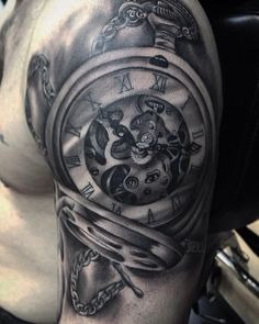 45 Best Realistic Pocket Watch Tattoo Images Pocket Watch Tattoos