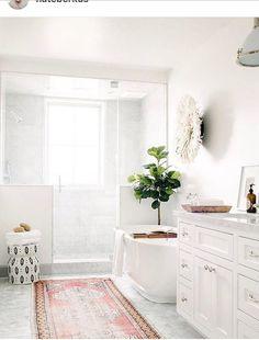 This blush Moroccan bathroom runner