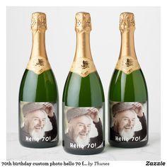 birthday custom photo hello 90 for guys champagne label Champagne Label, Champagne Bottles, Wine Bottles, 90th Birthday Parties, Man Birthday, Photo Quality, Custom Photo, Guys, 50th