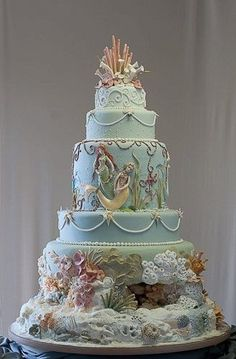 Under the sea cake with mermaids, coral