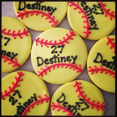 Softball cookies Softball Cookies, Softball Party, Softball Stuff, Girls Softball, Bake Sale, Cake Ideas, Bae, Clever, Graduation