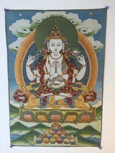 Buy Buddhist Thangka Avalokiteshvara with a Green Halo on Blue Background