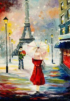 Rain in Paris Eiffel Tower Painting, Eiffel Tower Art, Romantic Paintings, Beautiful Paintings, Canvas Pictures, Pictures To Paint, Paris Painting, Paris Wallpaper, Umbrella Art
