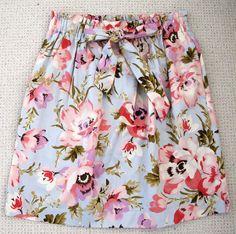 JOULES Tom Joule Pink & blue floral summer skirt, size 10, elasticated waist vgc