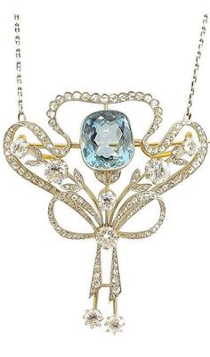 Art Nouveau Aquamarine & Diamond Pendant